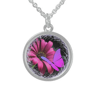 Butterfly on Daisy Sterling Silver Necklace