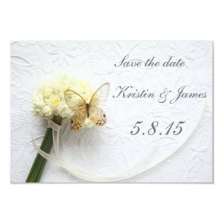 """Butterfly on flower bouquet save the date 3.5"""" x 5"""" invitation card"""