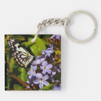 Butterfly on flower keychain