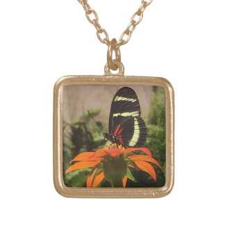 Butterfly on flower necklace