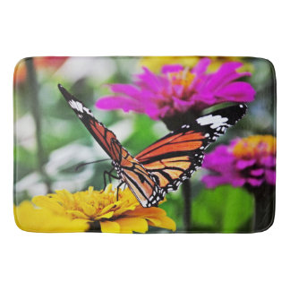 Butterfly on Flowers #2 Bath Mat