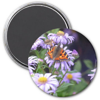 Butterfly On Flowers 3 Inch Round Magnet