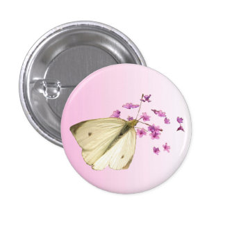 Butterfly on Flowers 1 Inch Round Button
