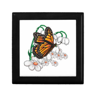 Butterfly on flowers gift box