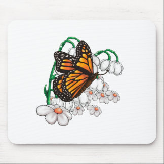 Butterfly on flowers mouse pad