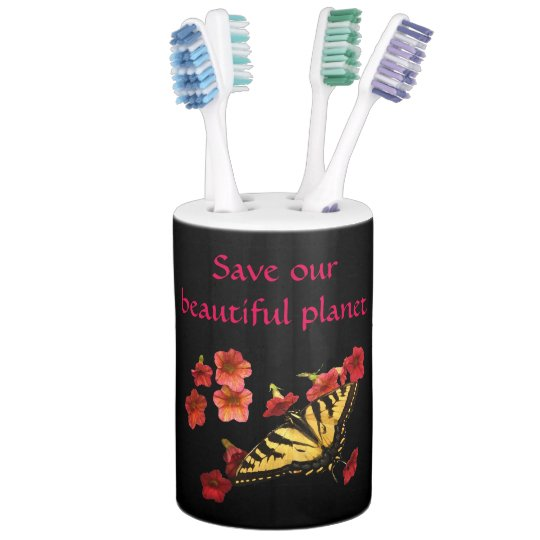 Butterfly on Flowers Save Our Planet Bathroom Set