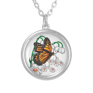 Butterfly on flowers silver plated necklace