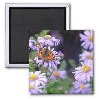 Butterfly On Flowers Square Magnet