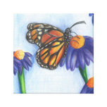 """Butterfly on Flowers Wrapped Canvas (12"""" x 12"""") Gallery Wrap Canvas"""