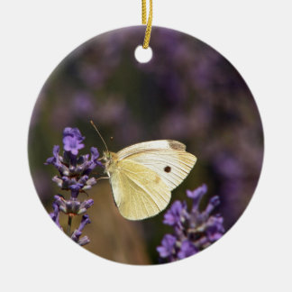 Butterfly on lavender ceramic ornament