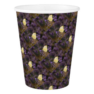 Butterfly on lavender paper cup