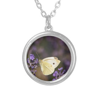 Butterfly on lavender silver plated necklace