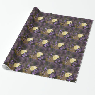 Butterfly on lavender wrapping paper