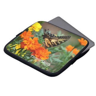 Butterfly on Orange and Yellow Flowers Laptop Slee Laptop Sleeve