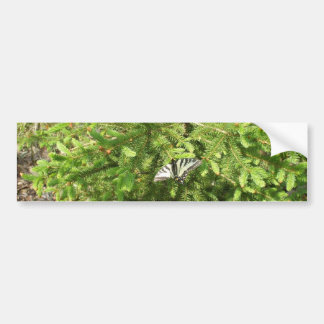 Butterfly on Pine Branch Bumper Sticker