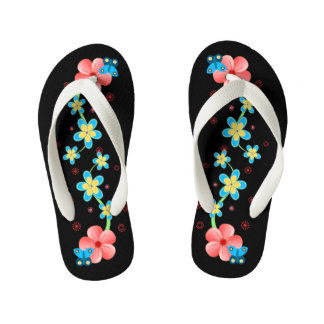 Butterfly on Pink and Blue Flowers Kids Flip Flops