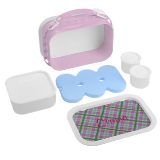 Butterfly on Pink and Green Plaid Lunch Box