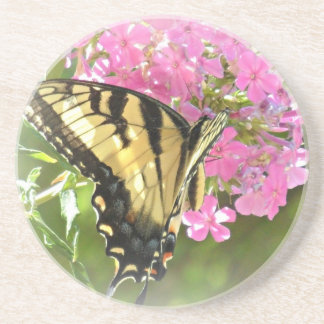 Butterfly on Pink Flowers Coaster