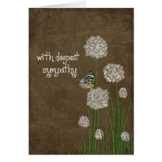 Butterfly on Puff flower sympathy Card