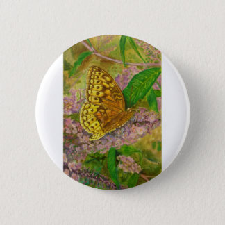 Butterfly on purple butterfly bush Buddleia david 2 Inch Round Button