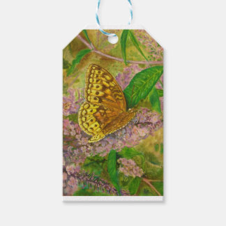 Butterfly on purple butterfly bush Buddleia david Gift Tags