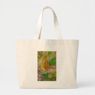 Butterfly on purple butterfly bush Buddleia david Large Tote Bag