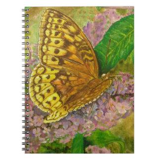 Butterfly on purple butterfly bush Buddleia david Notebooks