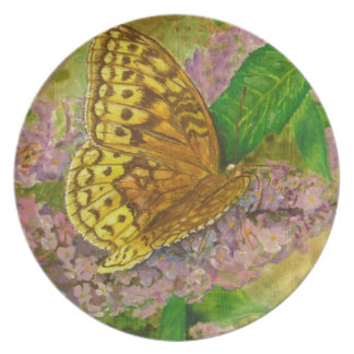 Butterfly on purple butterfly bush Buddleia david Plate