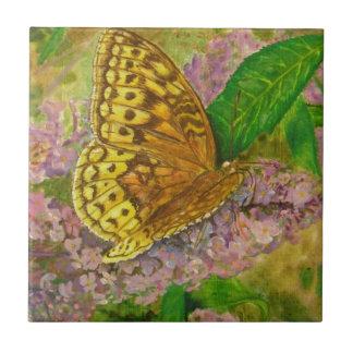 Butterfly on purple butterfly bush Buddleia david Tile