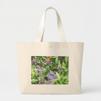 Butterfly on Purple Coneflower Large Tote Bag