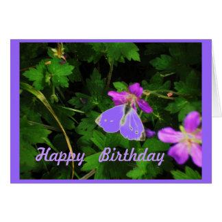 Butterfly on Purple Flowers birthday card