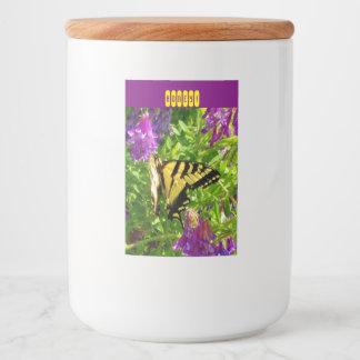 Butterfly on Purple Flowers. Customizable Food Label