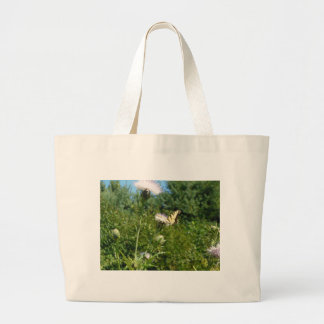 Butterfly on Purple Thistle Large Tote Bag