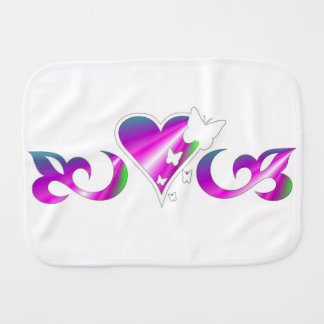 Butterfly on rainbow Lily and Heart Burp Cloth