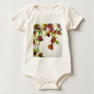 Butterfly on Red Berries Baby Bodysuit