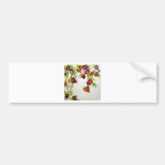 Butterfly on Red Berries Bumper Sticker