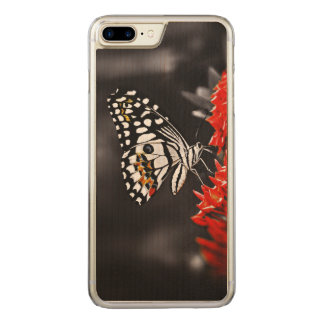 Butterfly on Red Flowers Carved iPhone 7 Plus Case