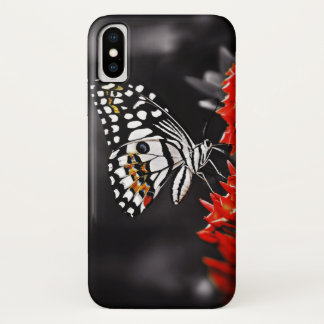 Butterfly on Red Flowers iPhone X Case