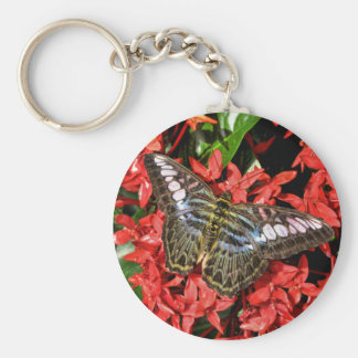 Butterfly on Red Flowers Keychain