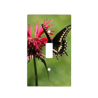 Butterfly on red flowers light switch cover