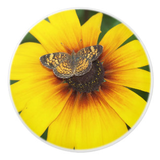 Butterfly on Sunflower Knob Ceramic Knob