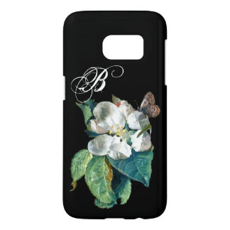 BUTTERFLY ON THE WHITE FLOWER , FLORAL MONOGRAM SAMSUNG GALAXY S7 CASE