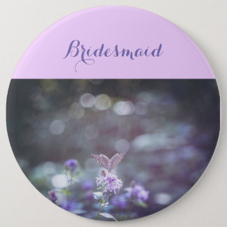 Butterfly on the wild flowers 6 inch round button