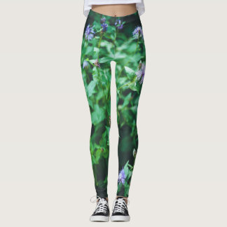 Butterfly on the wild flowers leggings