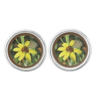 Butterfly on Yellow Flower Cufflinks