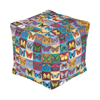 Butterfly Patchwork Pouf