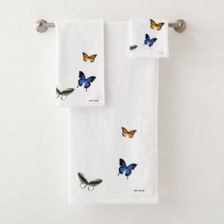 Butterfly Pattern Bathroom Towel Set