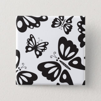 Butterfly Pattern - Black and White 2 Inch Square Button