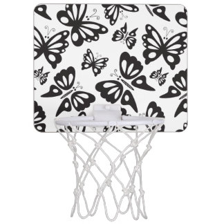 Butterfly Pattern - Black and White Mini Basketball Hoop