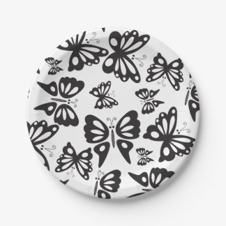 Butterfly Pattern - Black and White Paper Plate
